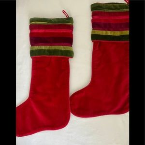 Crate& Barrel Rosetti Christmas Stocking ~2 RED